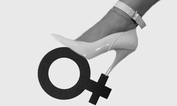 Talon haut sur logo femme
