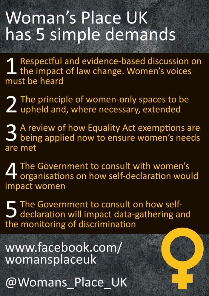 5 demands Womans Place