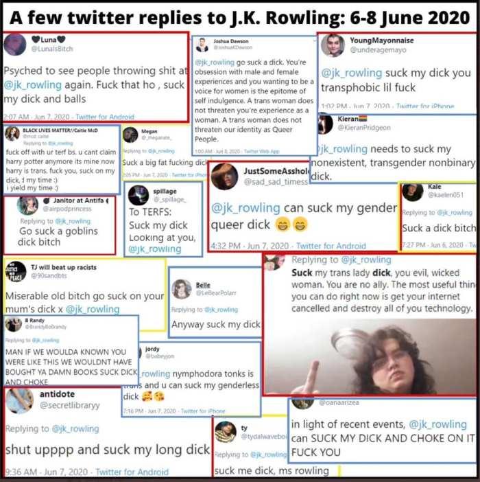 A few Twitter replies to Rowling